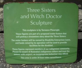 Blue-Mountains-Witch-Doctor-three-sisters-Terrance-Plowright-Plaque