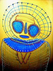 Gina-Sinozich-Astro-Yellow-Wanjina-detail
